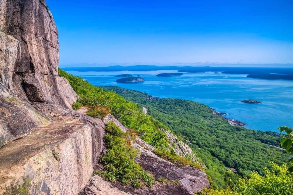 Views from the Precipice Trail in Acadia National Park.