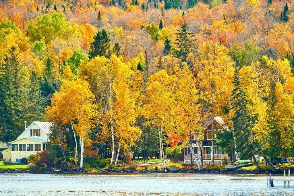 Houses along the shore of Rangeley Lake in autumn.