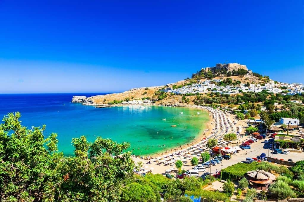 The amazing beaches on Rhodes island in Greece.
