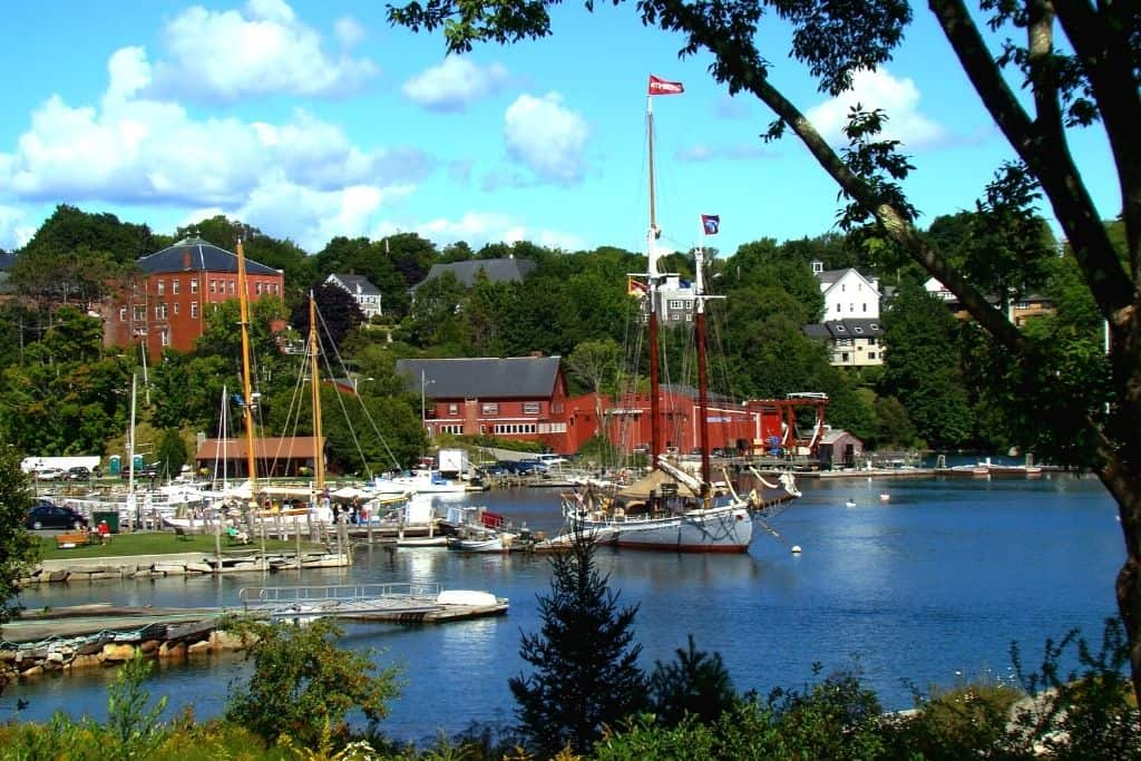 The harbor filled with sailboats in Lockport, Maine.
