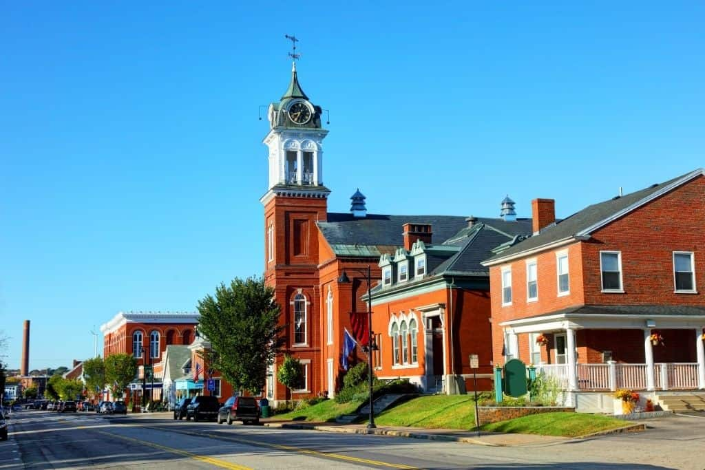 The beautiful historic buildings you'll find in downtown Saco, Maine.