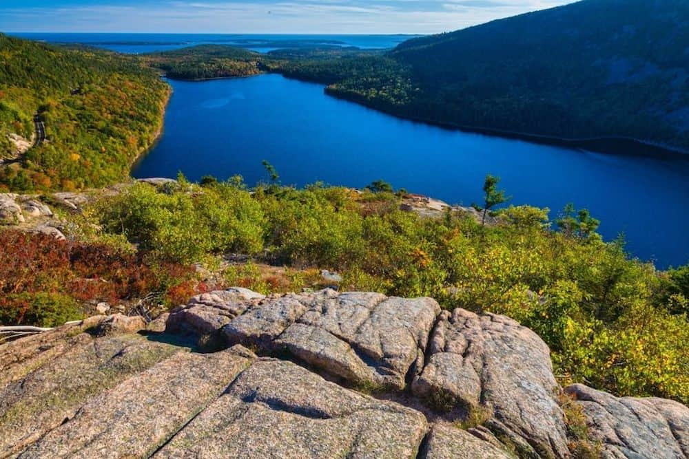 Views of Jordan Pond from the South Bubble Trail in Acadia National Park.
