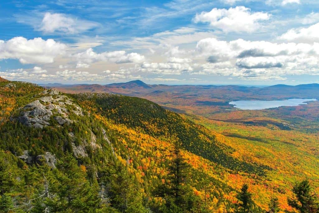 View from the summit of Tumbledown Mountain in Maine.