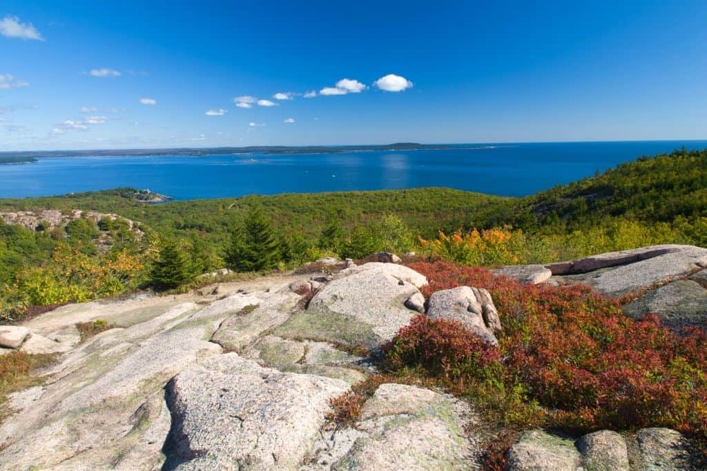View from Beehive Trail in Acadia National Park. One of the best hikes in Maine.