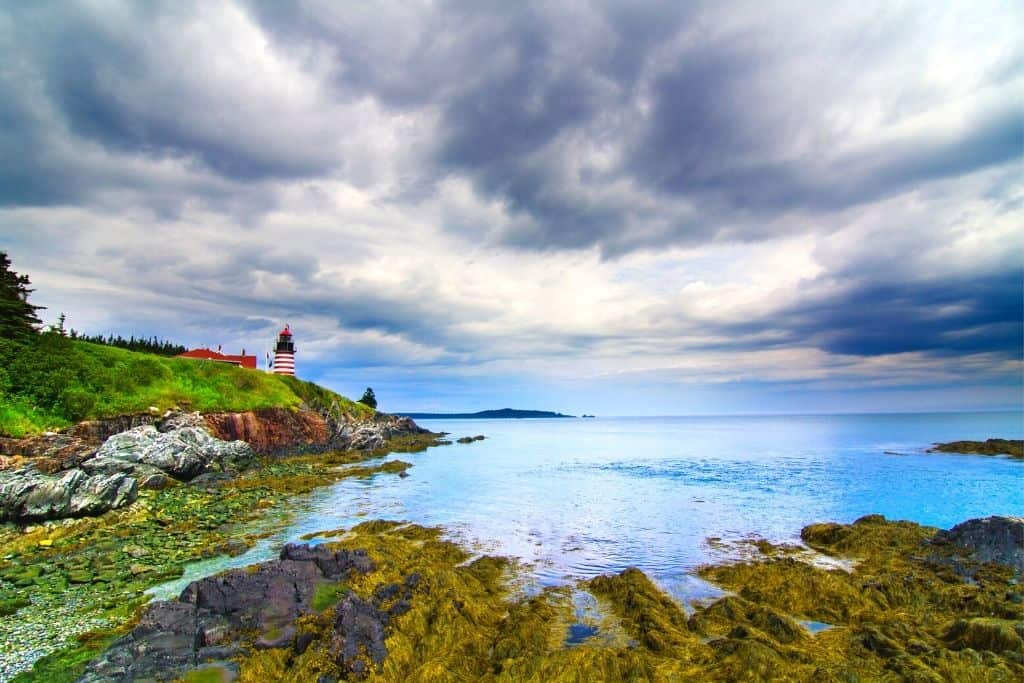 West Quoddy Head lighthouse along the coast of Maine.