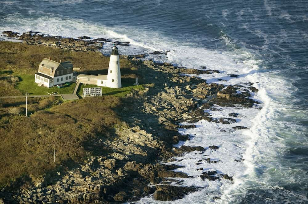 Aerial view of Wood Island Lighthouse south of Portland Maine.