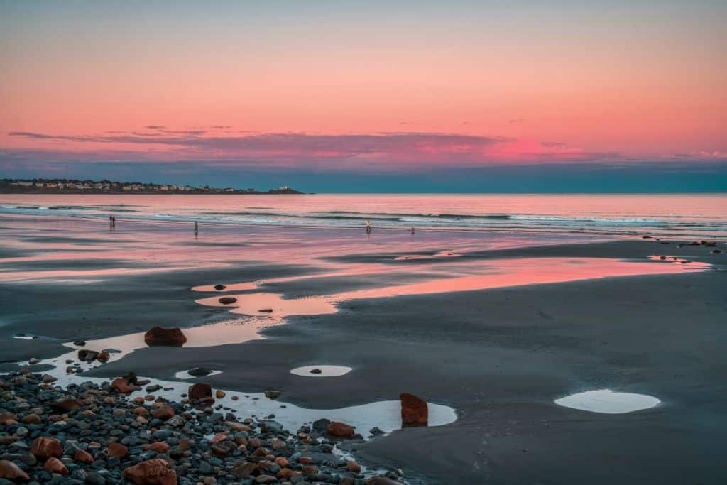 Sunset at York Beach, one of the best beach towns in Maine.