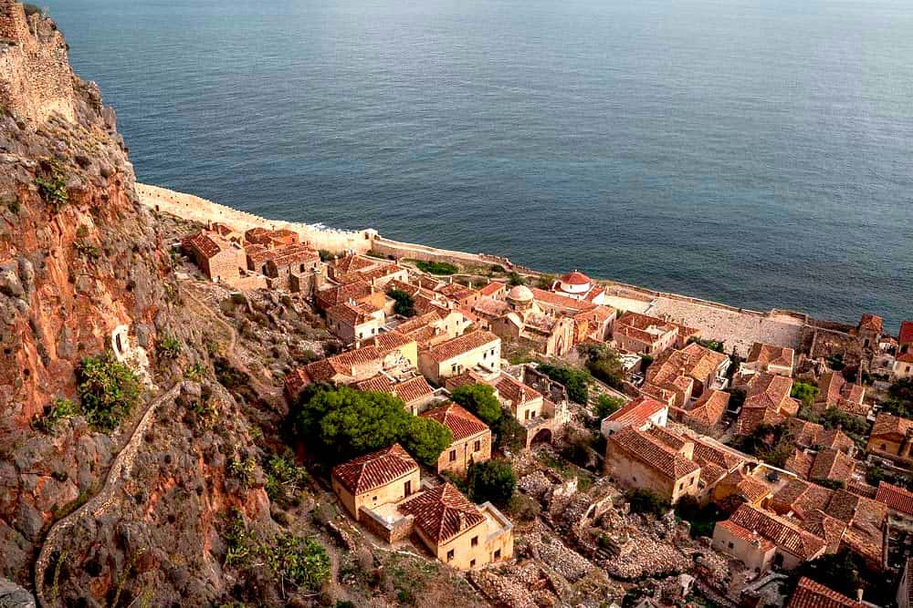 View of the sea from Monemvasia Castle in Greece.
