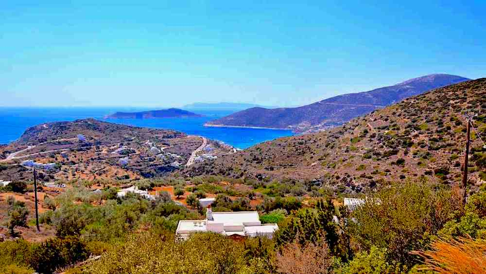 A panoramic view of the water surrounding Sifnos, Greece.