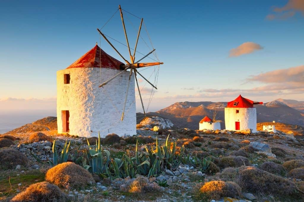 A historic windmill on the Greek island of Amorgos, Greece.
