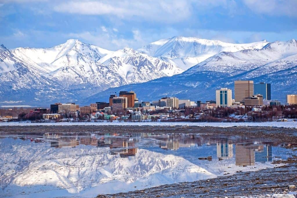 The Anchorage Alaska skyline and one of the best towns in Alaska.