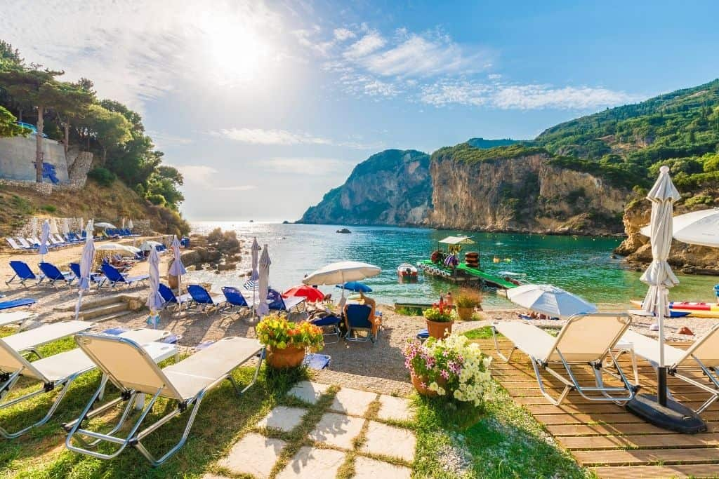 The stunning beaches of Corfu, one of the most beautiful islands in Greece.
