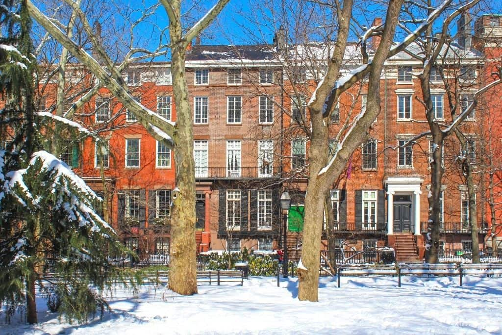 Some of the beautiful brownstones in Greenwich Village, one of the best areas to stay in NYC.
