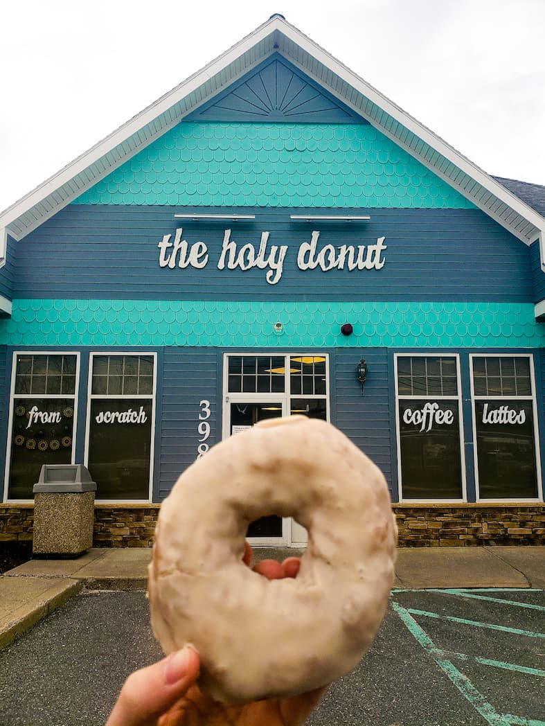 A maple donut from Holy Donut in Portland, Maine.