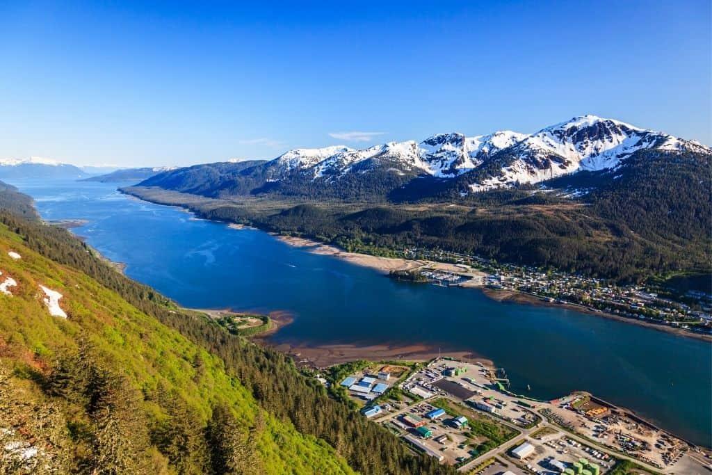 An aerial view of Juneau, Alaska.