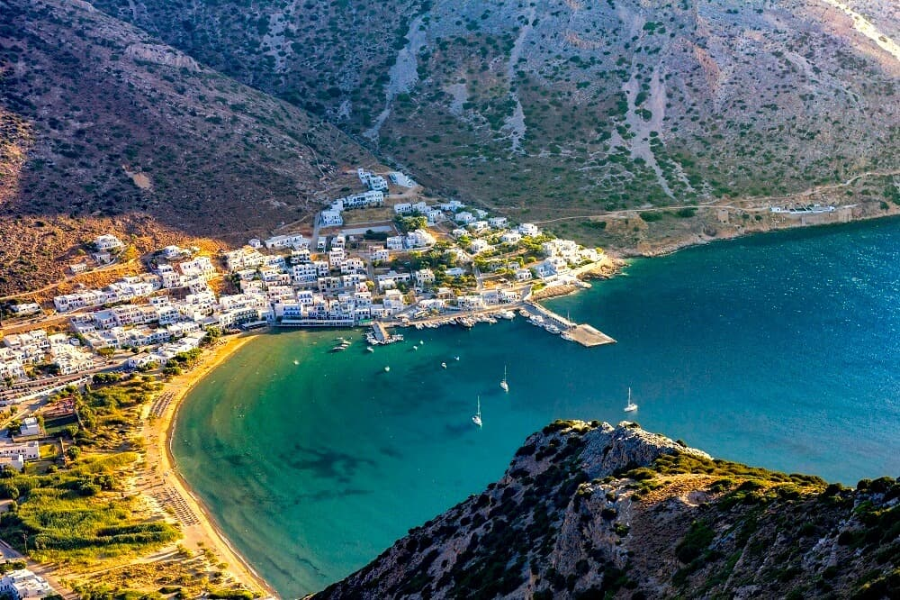 An aerial view of Kamares in Sifnos.