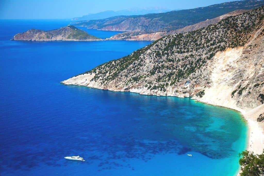 The rugged coast of Kefalonia, Greece.