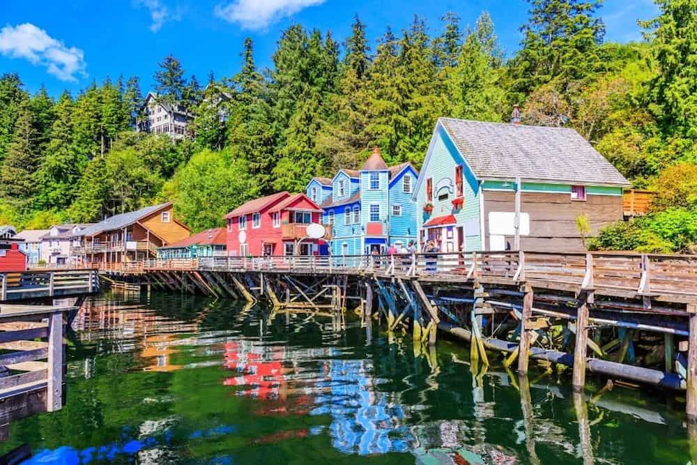 Colorful, stilted homes on the water in Ketchikan, Alaska.