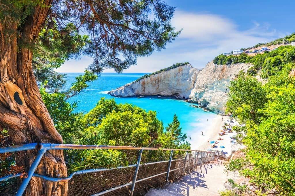 Katsiki Beach in Lefkada, Greece.