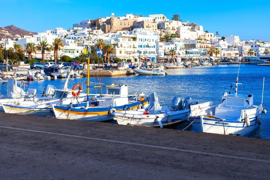 Boats docked at the port in Naxos, Greece.