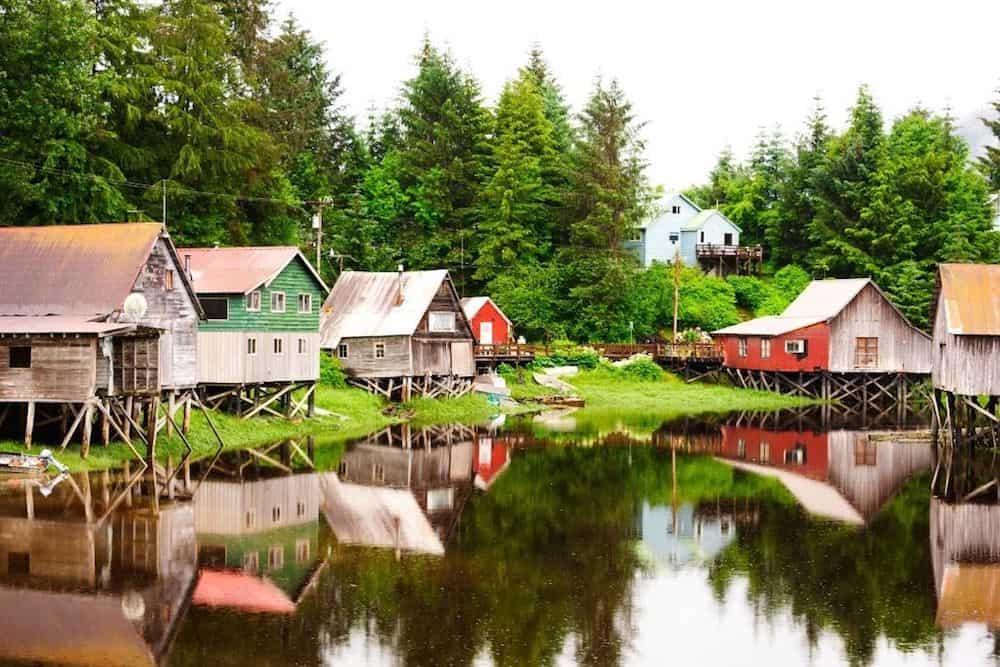 Stilted homes in Petersburg Alaska.