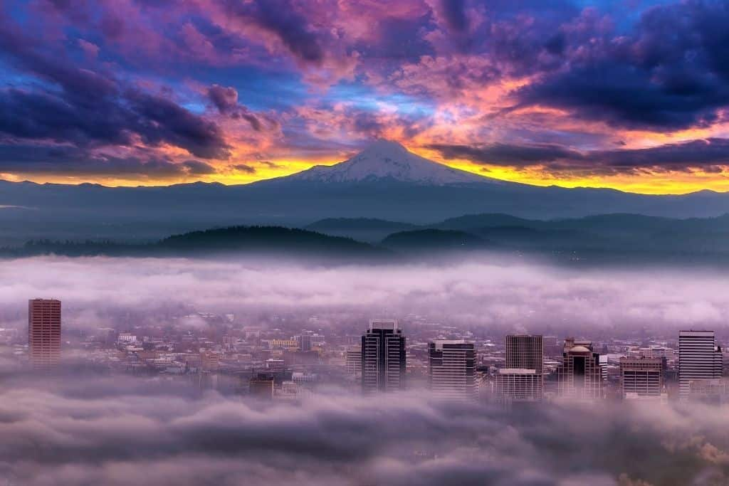 Portland, Oregon and Mount Hood in the background