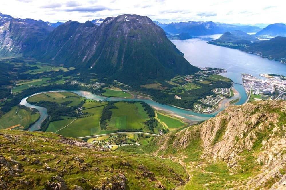The view from Reinebringen Ridge in Norway