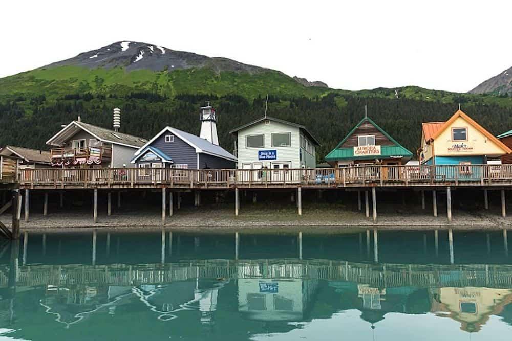 Houses on stilts in Seward, Alaska, one of the best towns in Alaska.