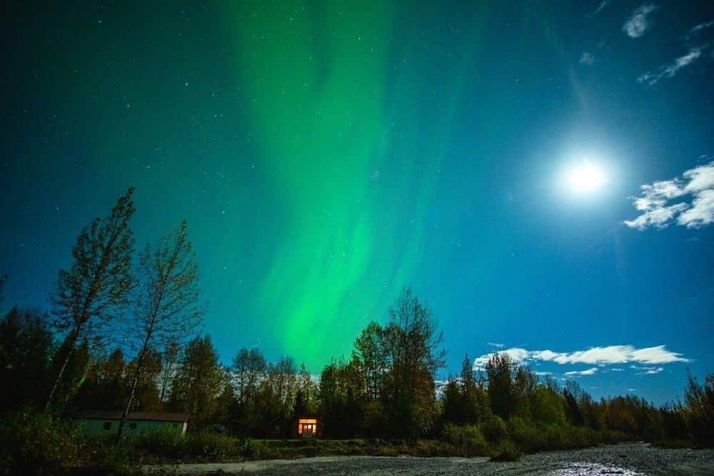 The northern lights in Talkeetna Alaska.