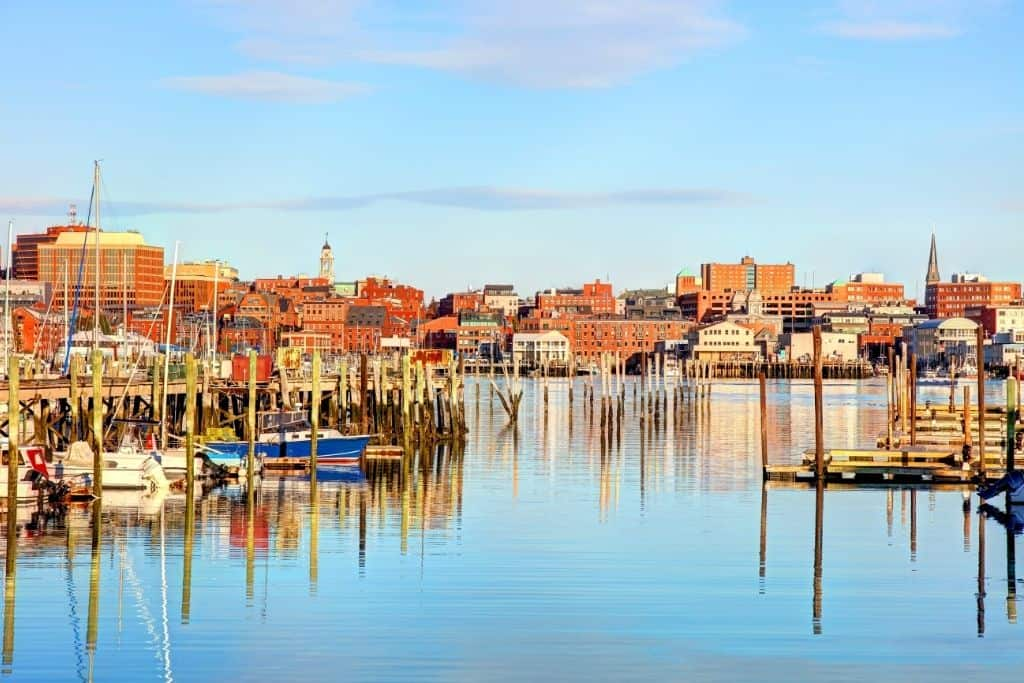 The Old Port area in downtown Portland, Maine.