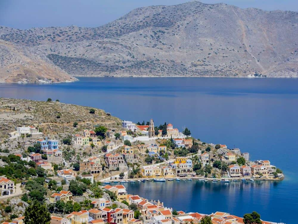 View from Chorio in Symi, Greece.