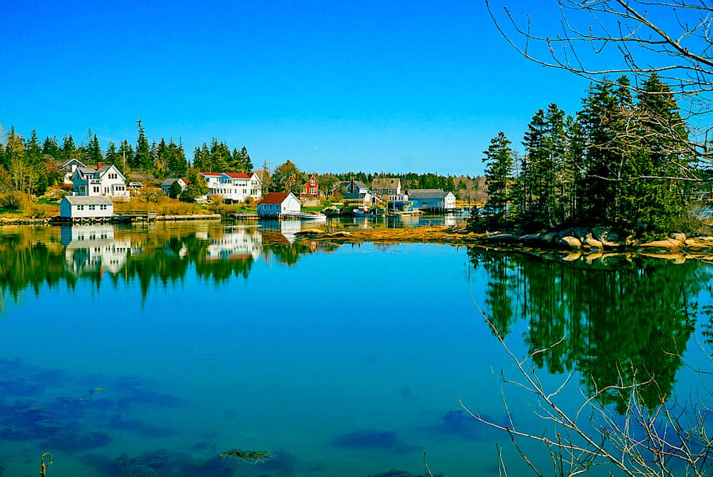 The island of Vinalhaven off the coast of Rockland. One of the fun things to do in Rockland Maine.