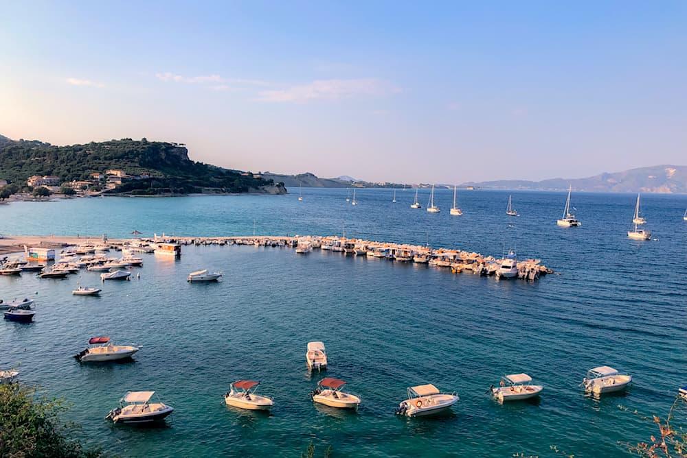 The beautiful marina on the island of Zakynthos in Greece.