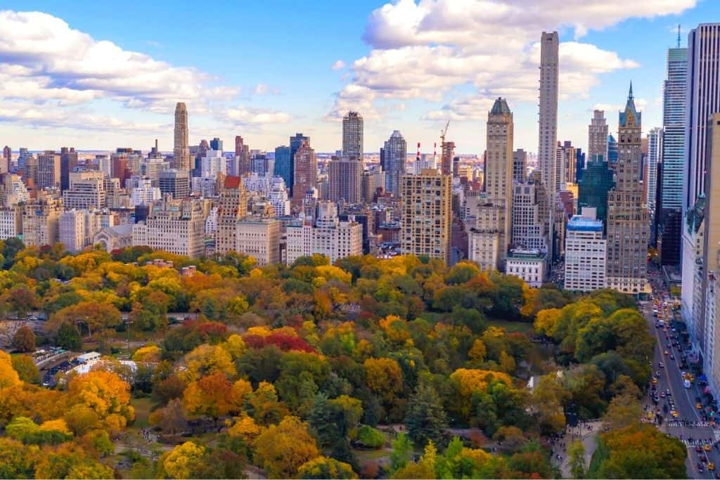 An aerial view of Central Park and fall in nyc.