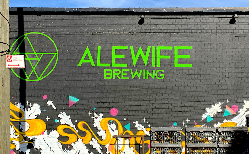 Mural with the Alewife logo on it.