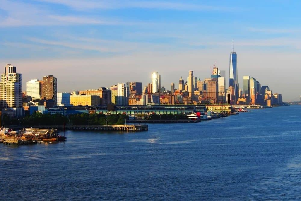View of the Manhattan skyline from Chelsea Piers.