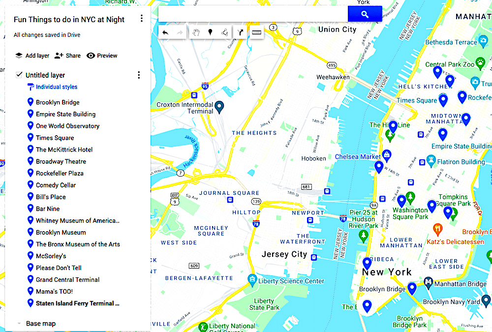 Map of Fun Things to do in NYC at night.