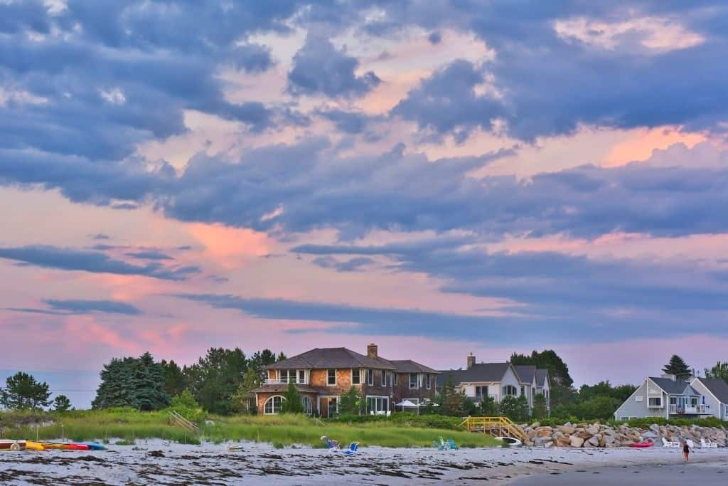 Goose Rocks Beach at sunset - one of the best things to do in Kennebunkport Maine.