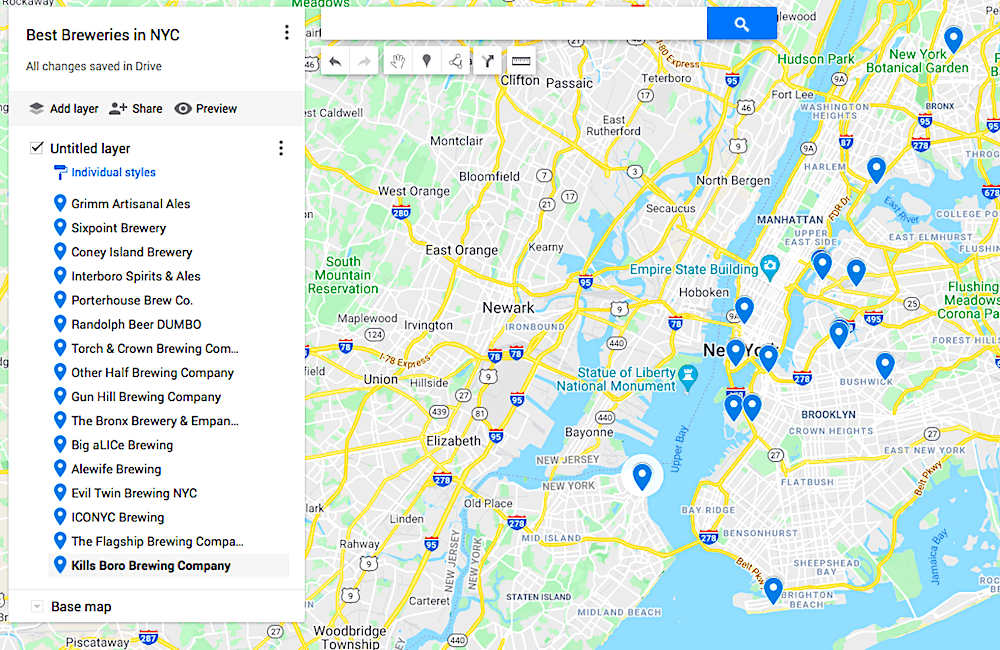 Map of the best breweries in NYC.