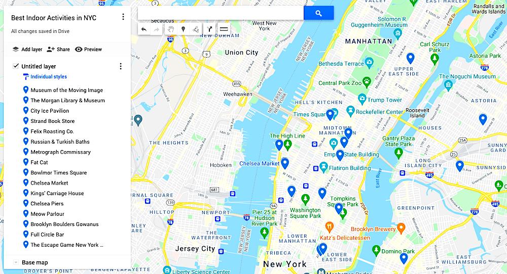 Map of the best indoor activities in NYC
