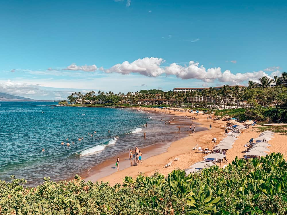 Tourists at the beach in Maui