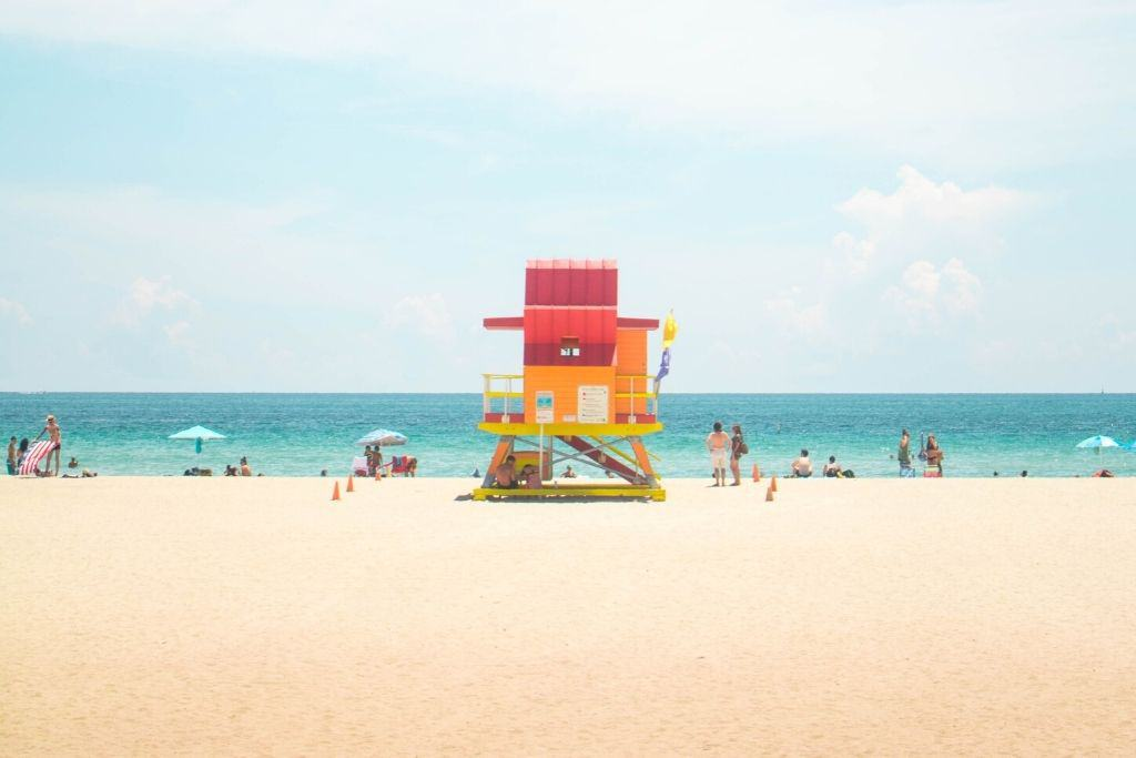 Colorful lifeguard station on the beaches of Miami.