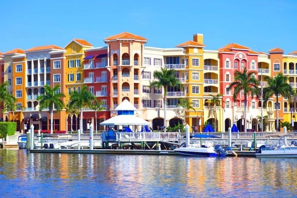 Colorful apartments on the water in Naples, Florida.