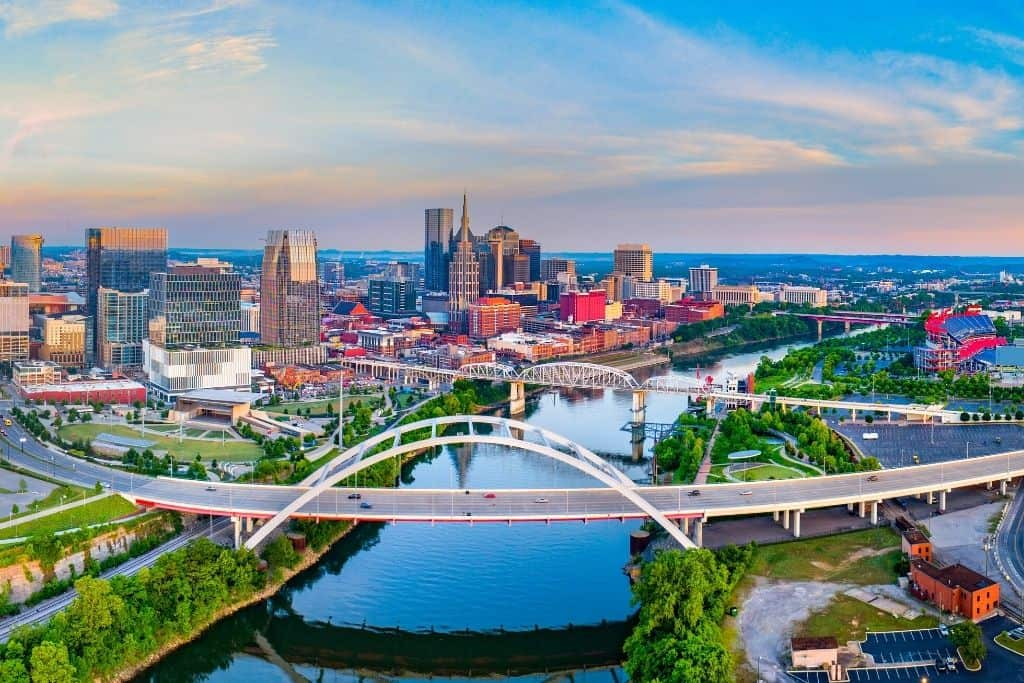 An aerial view of Nashville, Tennessee