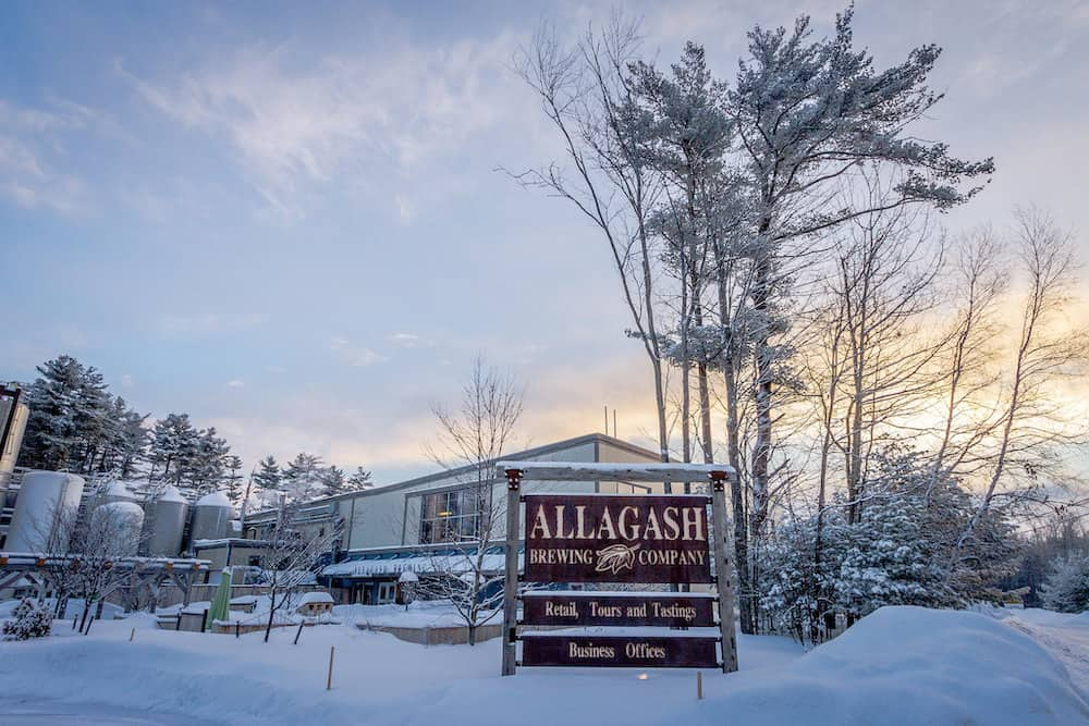 Sign in front of Allagash Brewing Company