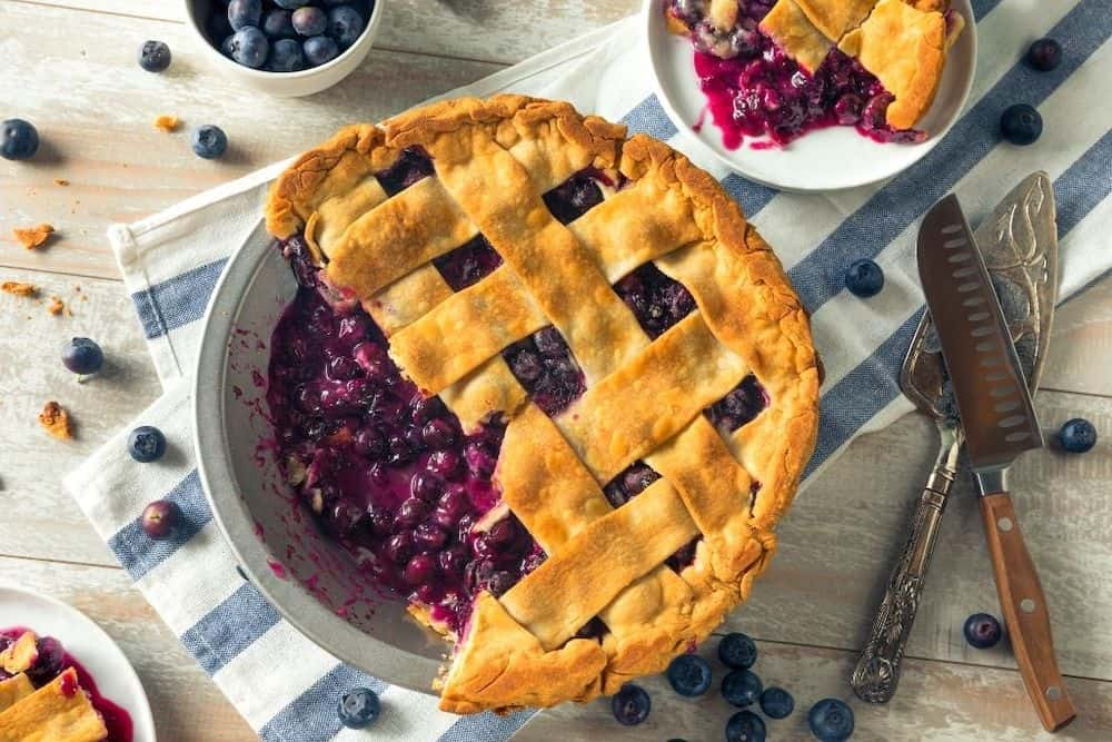 Blueberry Pie on a table