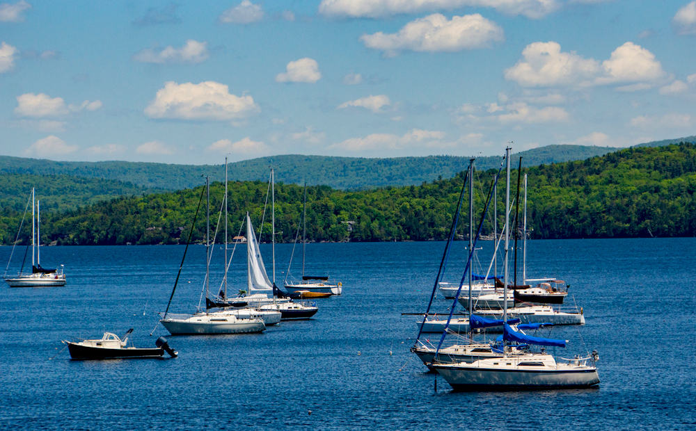 Boats on Lake Champlain that you'll see during one of the best scenic drives in Vermont.