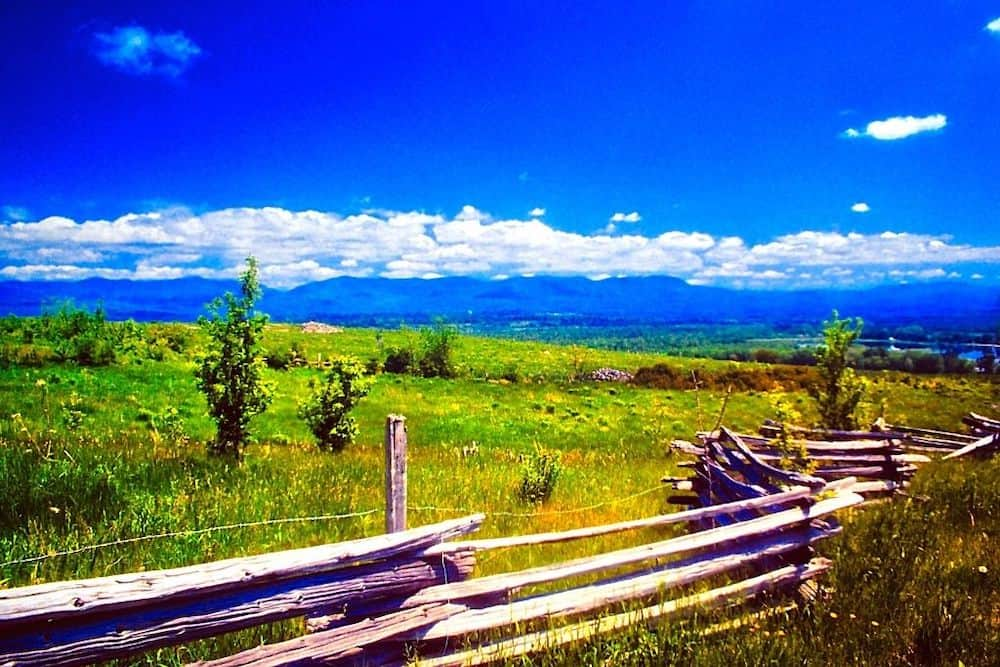 Beautiful meadows and historic wooden fences in Hubbardton, Vermont.