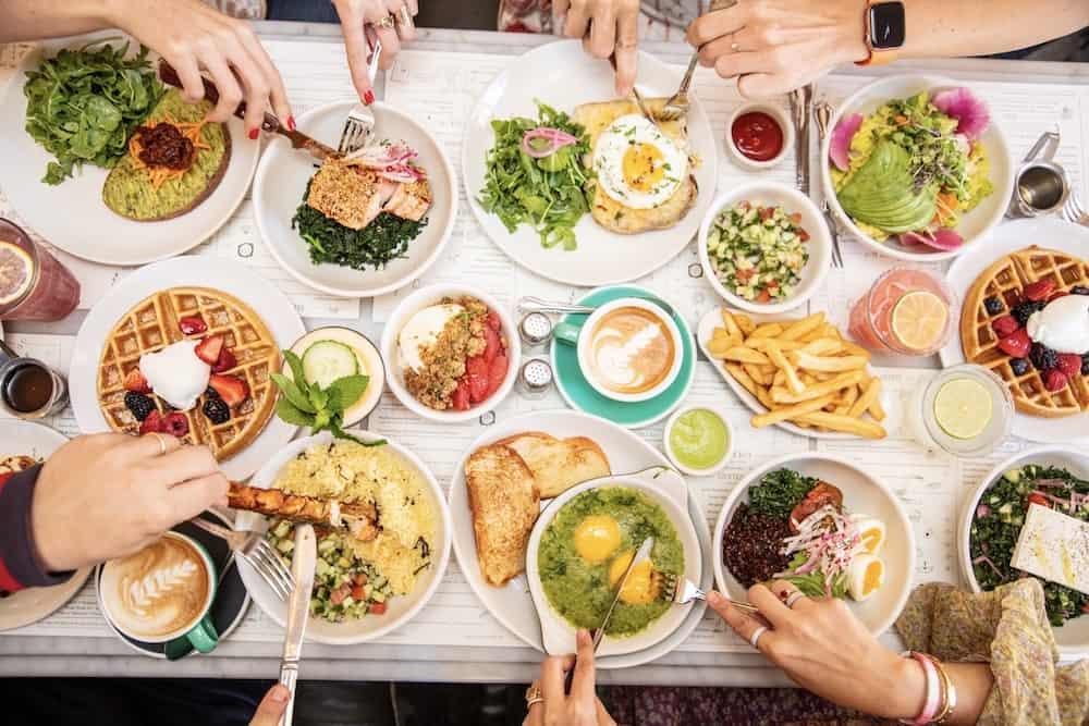 People eating brunch together.