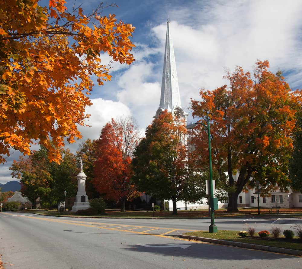 Vibrant fall foliage in beautiful Manchester Vermont